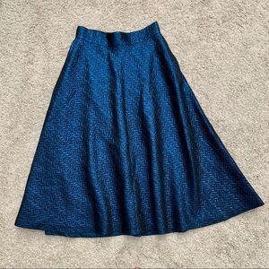 Banana Republic Blue Metallic Jacquard Midi Skirt